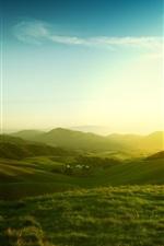 California, USA, nature landscape, morning, hills, fields, sunrise, fog