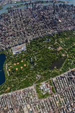 Central Park, skyscrapers, top view, New York, USA