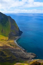 Preview iPhone wallpaper Chile, beautiful landscape, mountain, beach, island, blue sea, cliff