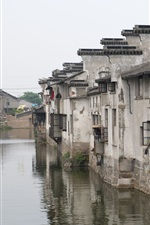 Preview iPhone wallpaper China, river, town, houses