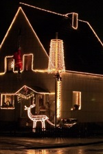 Christmas, house, holiday lights, night