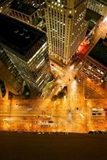 City, buildings, skyscrapers, roads, lights, top view, night