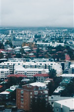 Preview iPhone wallpaper City, houses, road, buildings, clouds, dusk