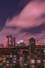 Preview iPhone wallpaper City night, houses, building, lights, clouds