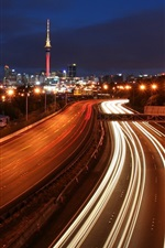 Preview iPhone wallpaper City, night, roads, traffic, lights