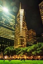City night view, Nova York, parque, arranha-céus, luzes, iluminação