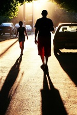 Preview iPhone wallpaper City, road, people, car, sunset, sunlight, shadow