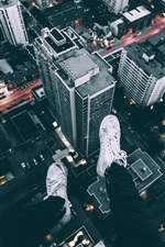 City, skyscrapers, roof, legs, shoes, dusk