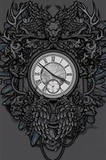 iPhone壁紙のプレビュー 時計、ライオン、アート