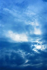 Preview iPhone wallpaper Clouds, blue sky, sun rays, glare