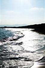 Preview iPhone wallpaper Coast, sea, waves, beach, dusk
