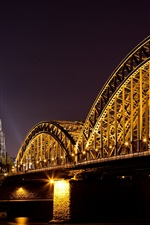 Preview iPhone wallpaper Cologne, Germany, cathedral, river, bridge, lights, night