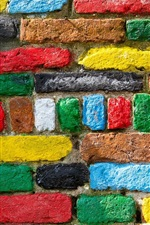 Preview iPhone wallpaper Colorful bricks texture, wall