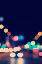Preview iPhone wallpaper Colorful light circles, city, night, glare