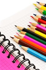 Preview iPhone wallpaper Colorful pencils, notebook