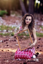 Preview iPhone wallpaper Curly hair girl sit on ground, mirror