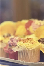 Preview iPhone wallpaper Delicious cupcakes, food, bokeh