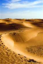 Preview iPhone wallpaper Desert, dunes, sand, blue sky