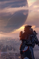 Preview iPhone wallpaper Destiny, city, planet, soldier