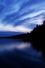 Dusk, sea, trees, blue sky, clouds