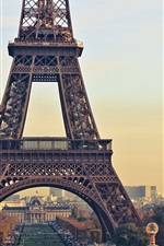 Preview iPhone wallpaper Eiffel Tower, Paris, France, city, dusk