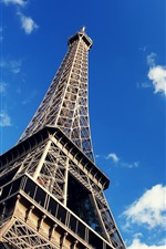 Eiffel Tower, blue sky, white clouds