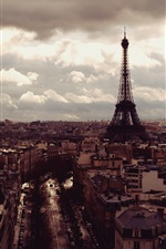 Preview iPhone wallpaper Eiffel Tower, city, top view, clouds, dusk, Paris, France