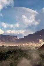 Design de fantasia, pirâmide, cânions, montanhas, planeta, árvores, nuvens