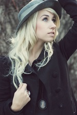 Preview iPhone wallpaper Fashion girl, hat, black coat