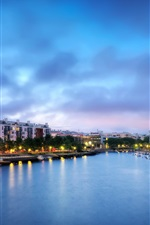 Preview iPhone wallpaper Finland, Helsinki, city, river, boats, houses, evening, lights