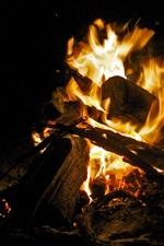 Preview iPhone wallpaper Fire, bonfire, firewood, night