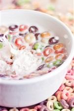 Preview iPhone wallpaper Food, cereal circles, colorful, milk, splash