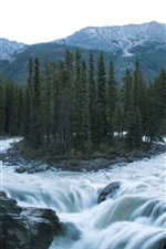 Preview iPhone wallpaper Forest, river, mountains, boy