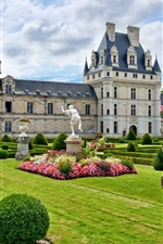 France, chateau, garden, clouds