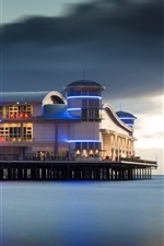 Preview iPhone wallpaper Grand Pier, buildings, sea, night, lights, England
