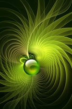 Preview iPhone wallpaper Green rotation bright lines background, ball, abstract