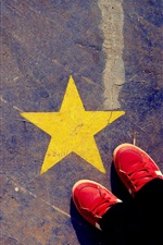 Preview iPhone wallpaper Ground, yellow star, red shoes