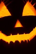 Halloween, pumpkin light, face, black background