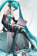 Preview iPhone wallpaper Hatsune Miku, blue hair anime girl use computer