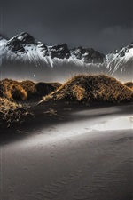 Preview iPhone wallpaper Iceland, black sands, grass, mountains, snowy peaks, mist