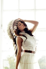 Preview iPhone wallpaper Indian style headdress girl, window, pose