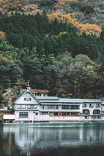 Preview iPhone wallpaper Kinrinko, lake, park, house, trees, Japan
