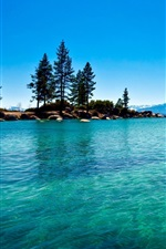 Preview iPhone wallpaper Lake, clear water, blue sky