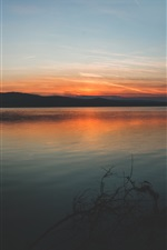 Preview iPhone wallpaper Lake, coast, mountains, sunset, sky
