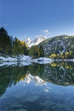 Lake, trees, snowy peak, water reflection