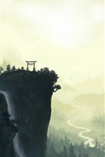 Preview iPhone wallpaper Landscape watercolor painting, cliff, torii, mountains, waterfall, river, trees