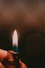Preview iPhone wallpaper Lighter, fire, flame, hand, dark