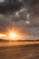 Preview iPhone wallpaper Lighthouse, beach, sunset