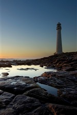 Preview iPhone wallpaper Lighthouse, rocks, sea, sunset