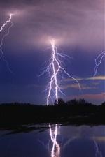 Preview iPhone wallpaper Lightning, night, trees, lake, water